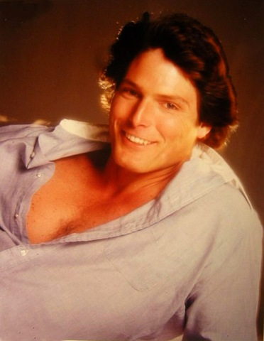 Christopher Reeve open shirt 80s